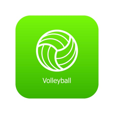 Volleyball icon green vector isolated on white background