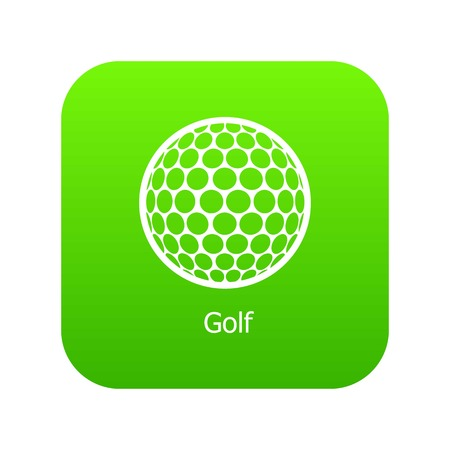 Golf ball icon green vector isolated on white background