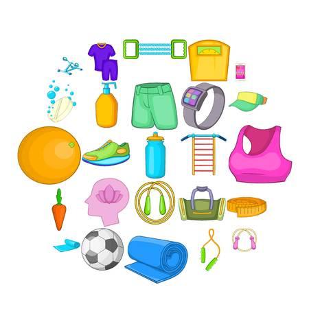 Public gym icons set. Cartoon set of 25 public gym vector icons for web isolated on white background