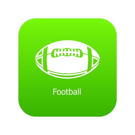 Rugby ball icon green vector isolated on white background Illustration