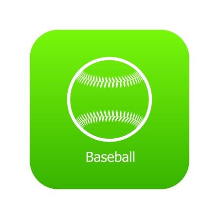 Baseball icon green vector isolated on white background Illustration
