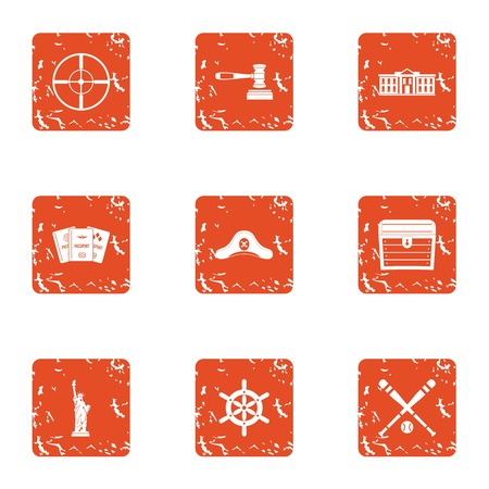 Legislation icons set. Grunge set of 9 legislation vector icons for web isolated on white background