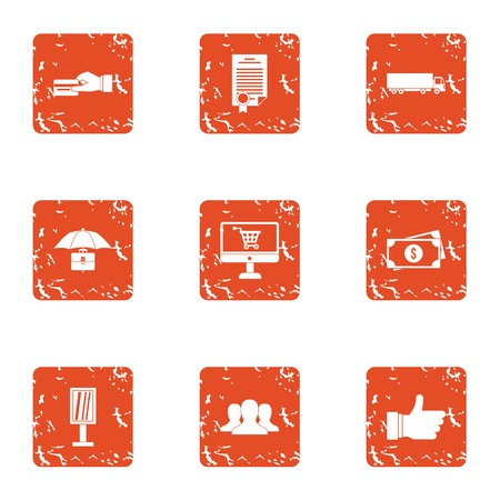 Online credit icons set. Grunge set of 9 online credit vector icons for web isolated on white background Banco de Imagens - 130234531