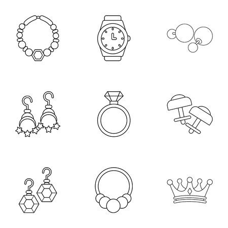 Princely jewellery icons set. Outline set of 9 princely jewellery vector icons for web isolated on white background Illusztráció