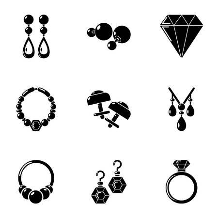 Bijouterie icons set. Simple set of 9 bijouterie vector icons for web isolated on white background Stock Illustratie