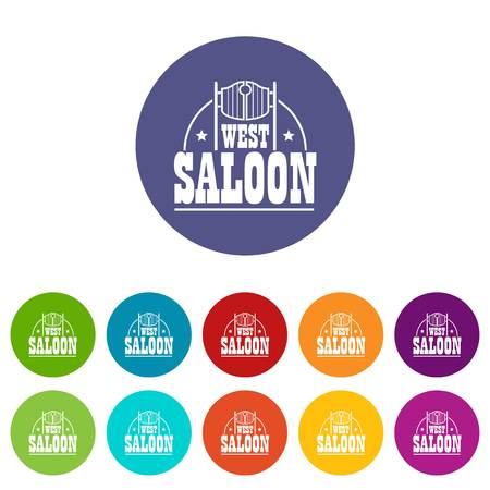 West saloon icons set vector color Illusztráció