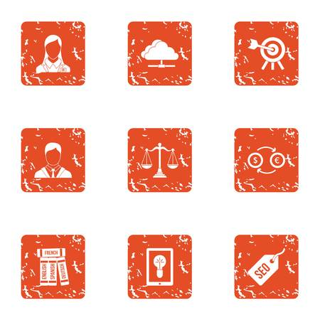 SEO exchange icons set. Grunge set of 9 seo exchange vector icons for web isolated on white background Illusztráció