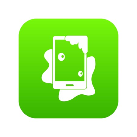 Wet phone icon digital green