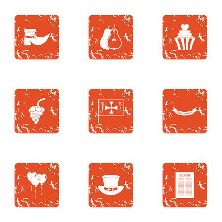 Royal show icons set. Grunge set of 9 royal show vector icons for web isolated on white background Illustration