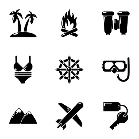 Escape from work icons set. Simple set of 9 escape from work vector icons for web isolated on white background Иллюстрация