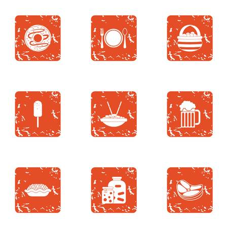 Creamy food icons set. Grunge set of 9 creamy food vector icons for web isolated on white background