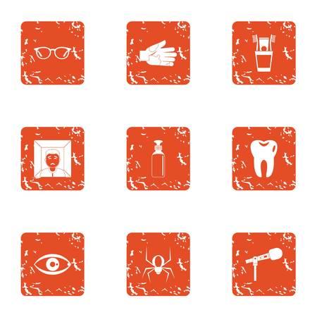 Phobia icons set, grunge style Illustration