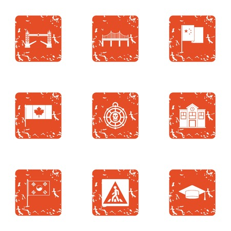 Canadian town icons set. Grunge set of 9 canadian town vector icons for web isolated on white background Ilustração
