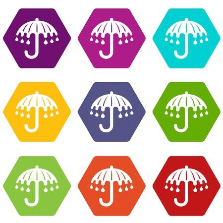 Wet umbrella icons set 9 vector 向量圖像