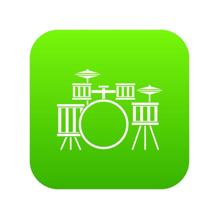 Drum kit icon digital green for any design isolated on white vector illustration