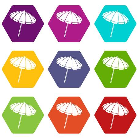 Beach umbrella icons set 9 vector Illustration