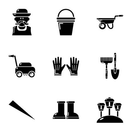 Lawn icons set. Simple set of 9 lawn vector icons for web isolated on white background  イラスト・ベクター素材