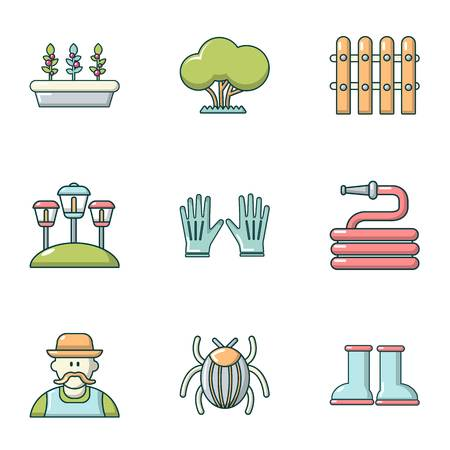 Lawn laying icons set. Cartoon set of 9 lawn laying vector icons for web isolated on white background