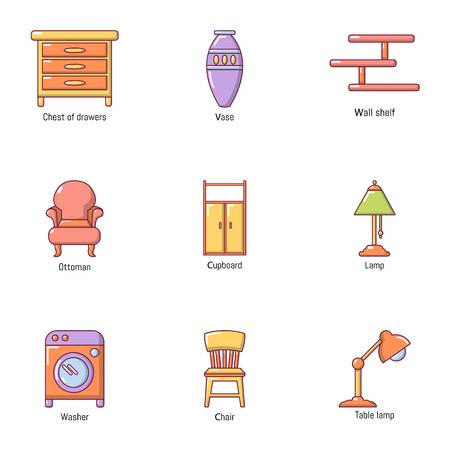 Room wooden product icons set. Cartoon set of 9 room wooden product vector icons for web isolated on white background