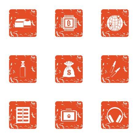 Donation for the animal icons set. Grunge set of 9 donation for the animal vector icons for web isolated on white background