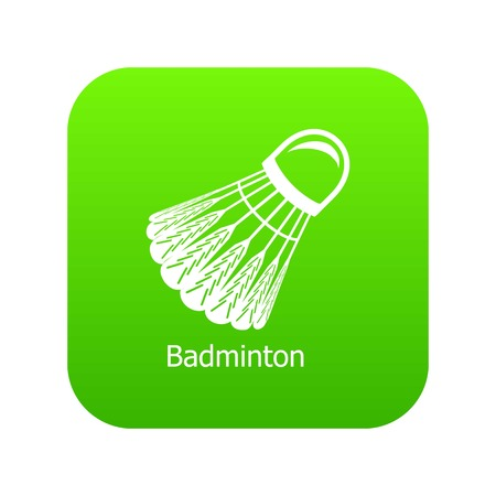 Badminton icon green vector isolated on white background