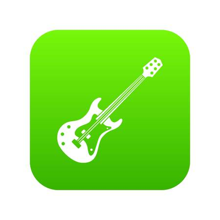 Classical electric guitar icon digital green for any design isolated on white vector illustration