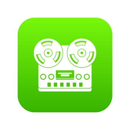 Retro tape recorder icon digital green for any design isolated on white vector illustration Ilustração