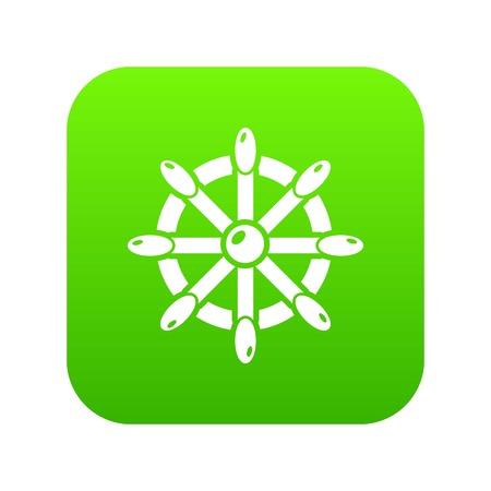 Handwheel icon green vector