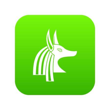 Ancient egyptian god Anubis icon digital green Illustration