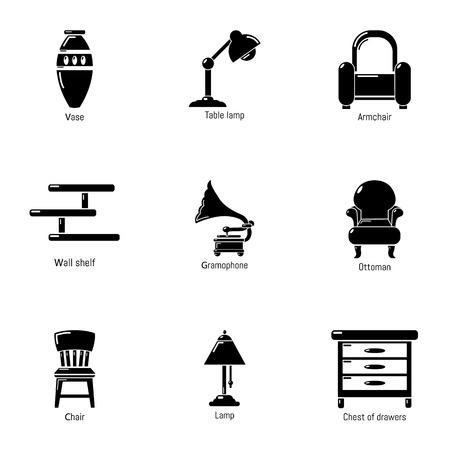 Antique room icons set. Simple set of 9 antique room vector icons for web isolated on white background Vettoriali