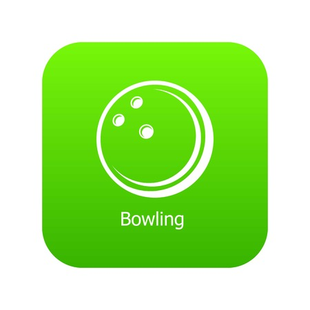 Bowling ball icon green vector isolated on white background 向量圖像