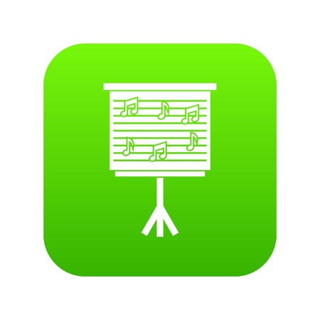 Whiteboard with music notes icon digital green for any design isolated on white vector illustration