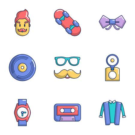 Hipster view icons set. Flat set of 9 hipster view vector icons for web isolated on white background