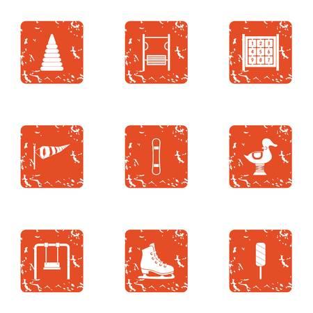 School break icons set, grunge style Ilustrace