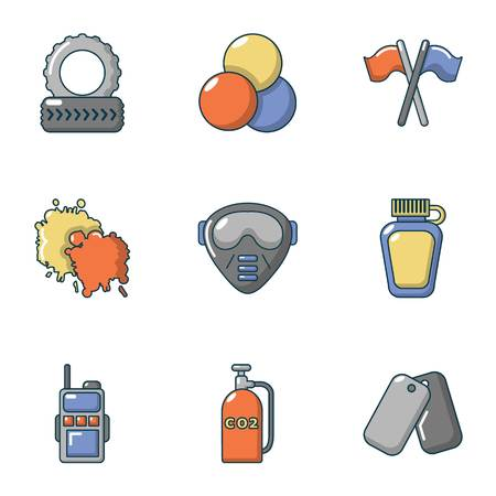 Paintball tournament icons set, flat style