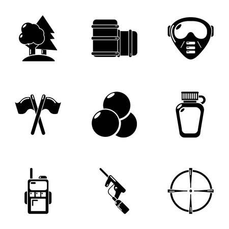 Woodland training icons set, simple style