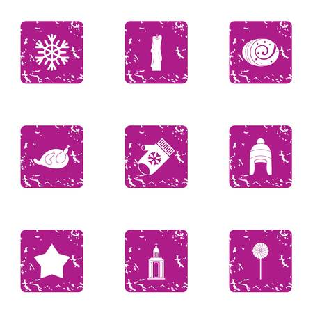 Winter mystery icons set. Grunge set of 9 winter mystery vector icons for web isolated on white background