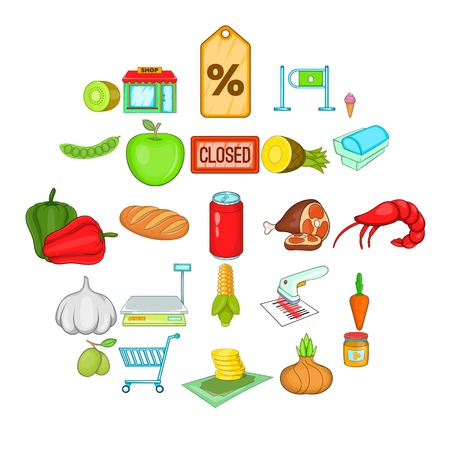Vegetable shop icons set. Cartoon set of 25 vegetable shop vector icons for web isolated on white background Illustration
