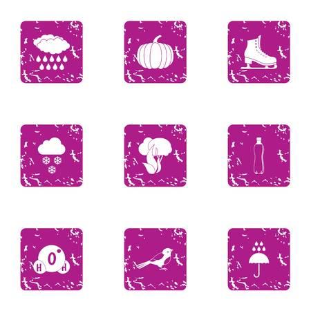 Natural precipitation icons set. Grunge set of 9 natural precipitation vector icons for web isolated on white background