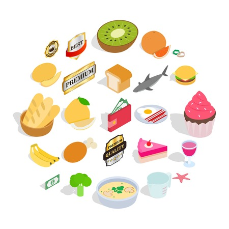 Grocery shop icons set. Isometric set of 25 grocery shop vector icons for web isolated on white background