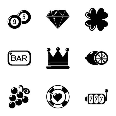 Extent of remittance icons set, simple style