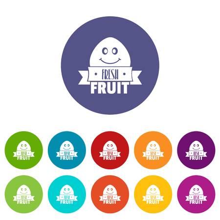Fresh fruit icons set vector color Stock Illustratie