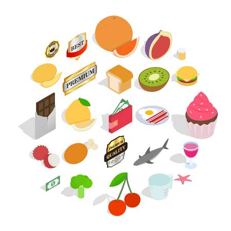 Greengrocery icons set. Isometric set of 25 greengrocery vector icons for web isolated on white background