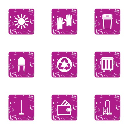 Eco cleaning icons set. Grunge set of 9 eco cleaning vector icons for web isolated on white background Иллюстрация