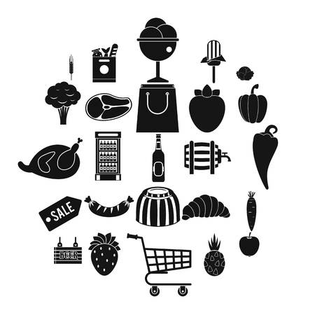 Food sale icons set. Simple set of 25 food sale vector icons for web isolated on white background