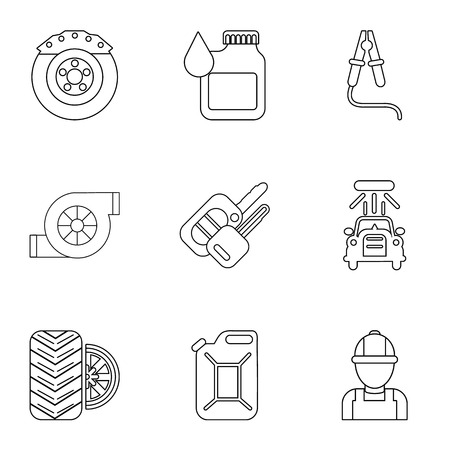 Darn icons set. Outline set of 9 darn vector icons for web isolated on white background