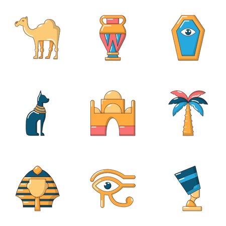Worship egypt icons set. Cartoon set of 9 worship egypt vector icons for web isolated on white background