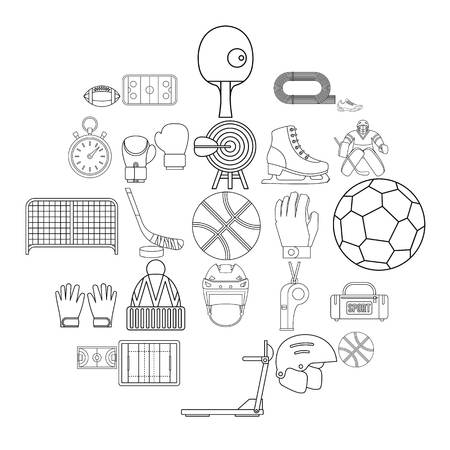 Football field icons set. Outline set of 25 football field vector icons for web isolated on white background