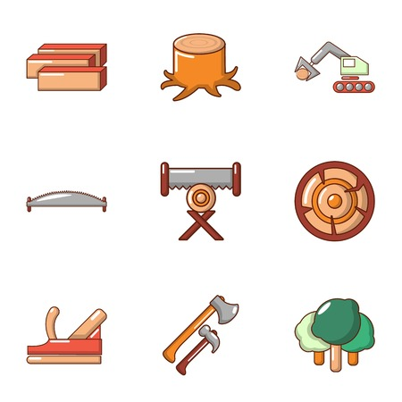 Work treelike icons set. Flat set of 9 work treelike vector icons for web isolated on white background