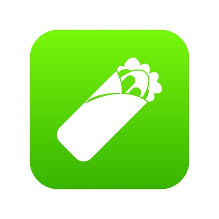 Shawarma sandwich icon digital green for any design isolated on white vector illustration